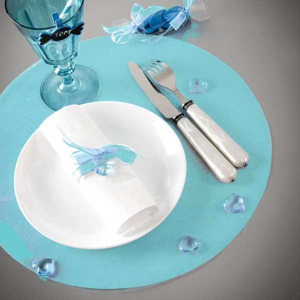 Set de table intisse turquoise for Set de table bleu