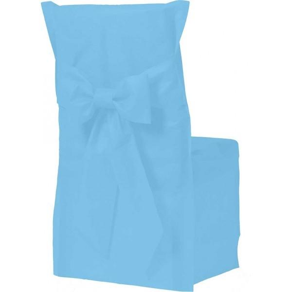 Housse de chaise couleur bleu x6 for Housse de chaise turquoise