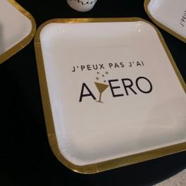 """Assiette """"J'peux pas j'ai Apéro"""""""