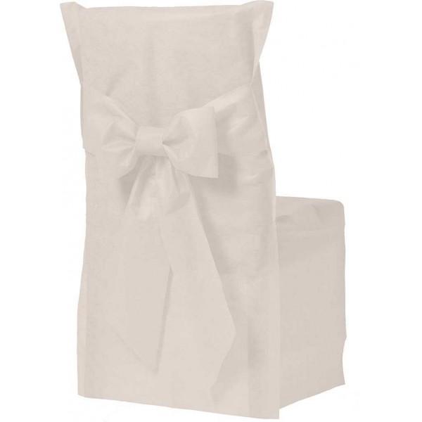 Housse de chaise couleur ivoire x6 for Housse de chaise blanc