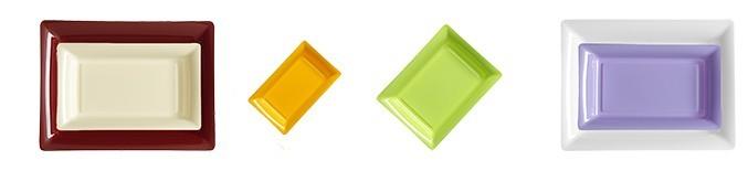 Assiette jetable en plastique rectangulaire